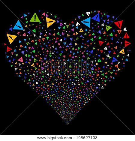 Warning fireworks with heart shape. Vector illustration style is flat bright multicolored iconic symbols on a black background. Object heart done from scattered symbols.