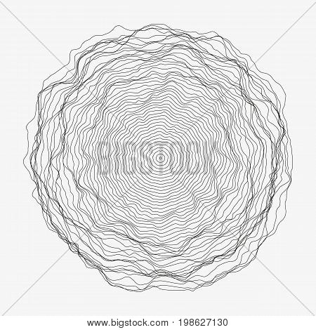 Abstract monochrome vector background illustration. Round random decorative composition. Rippled wavy circle. Minimalist generative linear shape. Modern element of design.