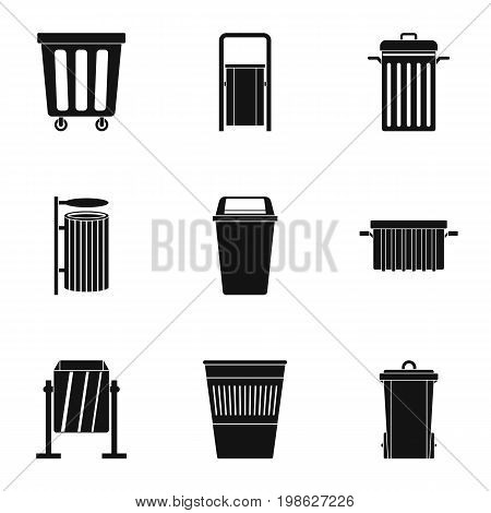 Garbage container icon set. Simple style set of 9 garbage storage vector icons for web isolated on white background