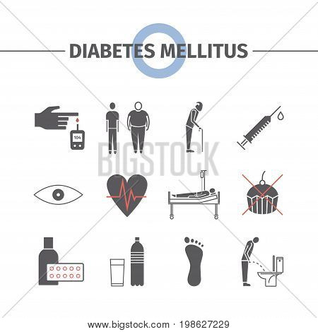 Diabetes Mellitus Symptoms and Symbols. Diabetes flat icons set