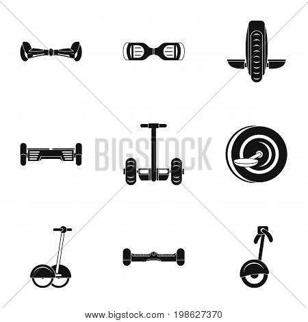 Self balancing scooter icon set. Simple style set of 9 electric scooter vector icons for web isolated on white background