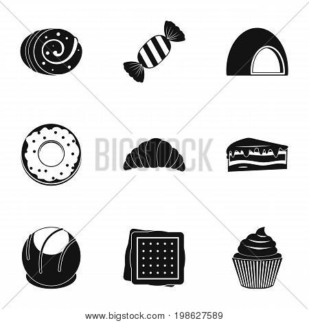 Different sweet icon set. Simple style set of 9 sweet vector icons for web isolated on white background