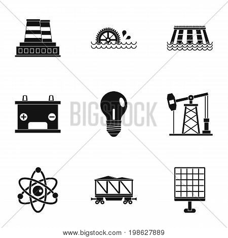Energy icon set. Simple style set of 9 energy sources vector icons for web isolated on white background