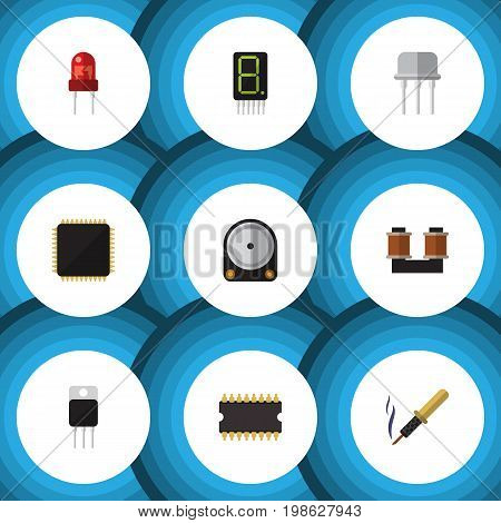 Flat Icon Electronics Set Of Hdd, Microprocessor, Display And Other Vector Objects