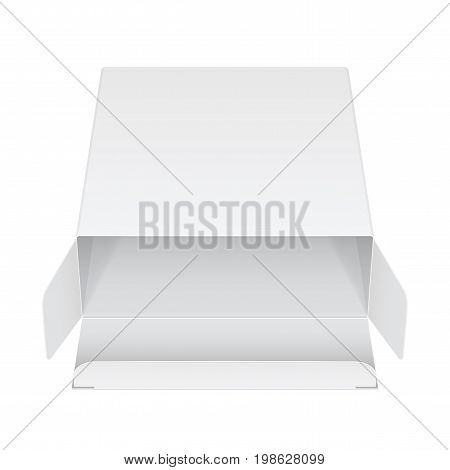 Realistic White Package Box Opened. For Software, electronic device and other products. Vector illustration
