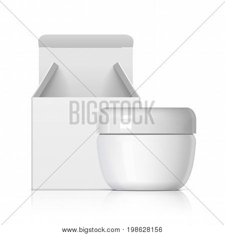 Cool Realistic white Cosmetic bottle With cardboard packing box . For cream, soups, ointments, glue and other cosmetics. Mock up for brand template. vector illustration.