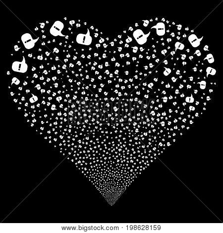 About fireworks with heart shape. Vector illustration style is flat white iconic symbols on a black background. Object salute created from random symbols.