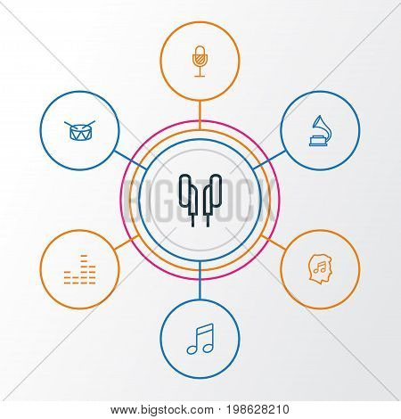 Music Outline Icons Set. Collection Of Melody, Phonograph, Cover And Other Elements