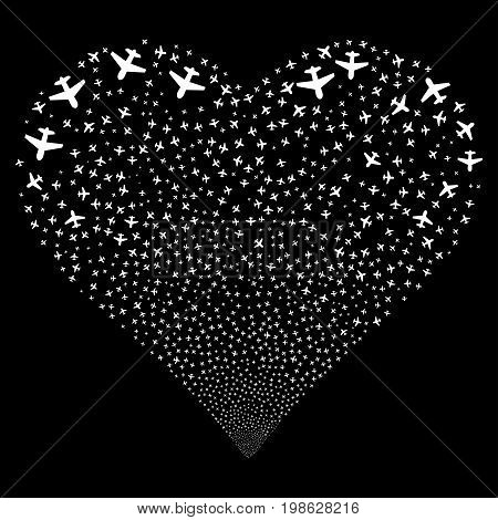 Airplane fireworks with heart shape. Vector illustration style is flat white iconic symbols on a black background. Object love heart combined from scattered icons.