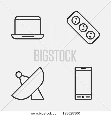 Hardware Icons Set. Collection Of Telephone, Antenna, Extension Cord And Other Elements