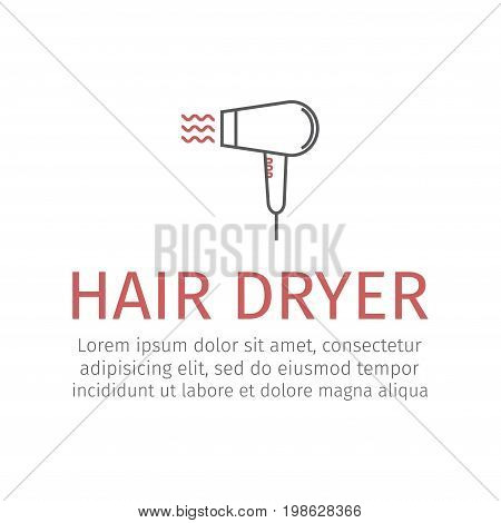 Hair dryer. Vector icon for web graphic.