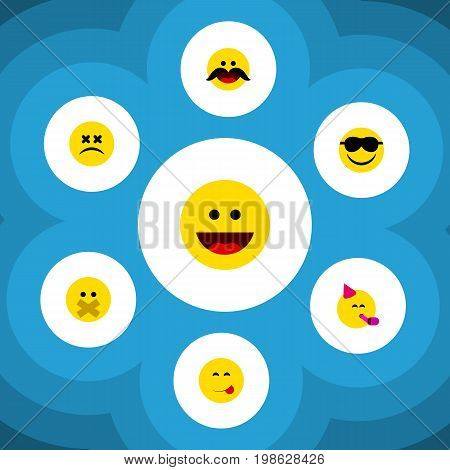 Flat Icon Face Set Of Party Time Emoticon, Laugh, Happy And Other Vector Objects