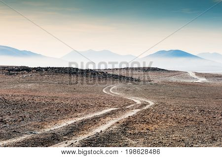 Desert Landscape On Plateau Altiplano, Bolivia