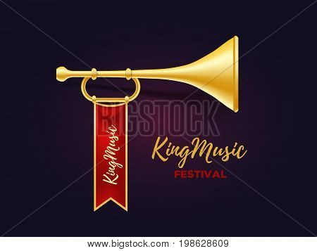 Realistic vector illustration of shiny golden metal trumpet with red ribbon and text on dark background. Announcement of a music festival concept. 3d design of horn for web, site, banner