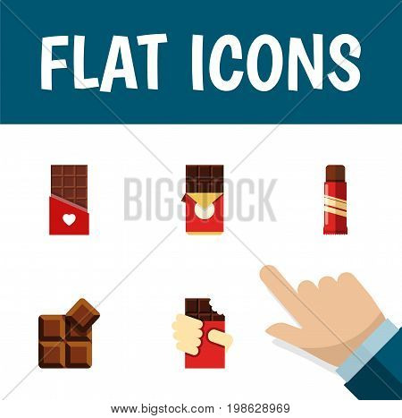 Flat Icon Chocolate Set Of Cocoa, Sweet, Shaped Box And Other Vector Objects