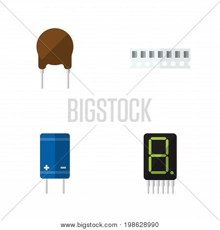 Flat Icon Electronics Set Of Transistor, Display, Memory And Other Vector Objects