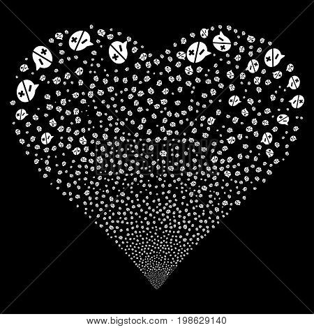 Arguments fireworks with heart shape. Vector illustration style is flat white iconic symbols on a black background. Object love heart organized from confetti icons.