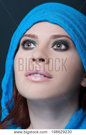 Model With Blue Scarf Posing Sensual
