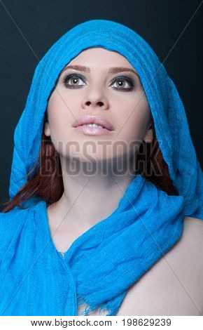 Fashionable Portrait Of Girl Model With Scarf