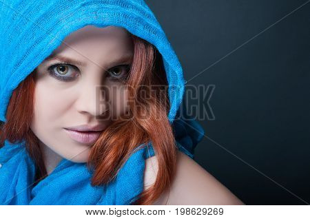 Beauty Portrait Of Young Woman With Headscarf
