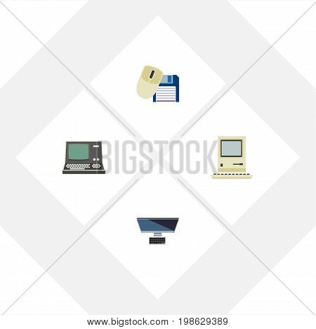 Flat Icon Computer Set Of PC, Computing, Technology And Other Vector Objects