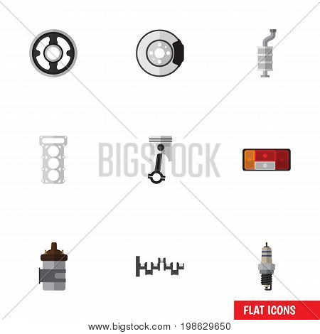 Flat Icon Component Set Of Steels Shafts, Metal, Spare Parts And Other Vector Objects