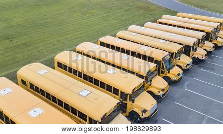 School buses prepare for another school year.