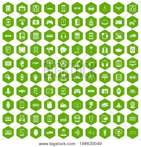 100 adjustment icons set in green hexagon isolated vector illustration