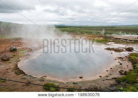 The Geyser at the Haukadalur geothermal area, Iceland.