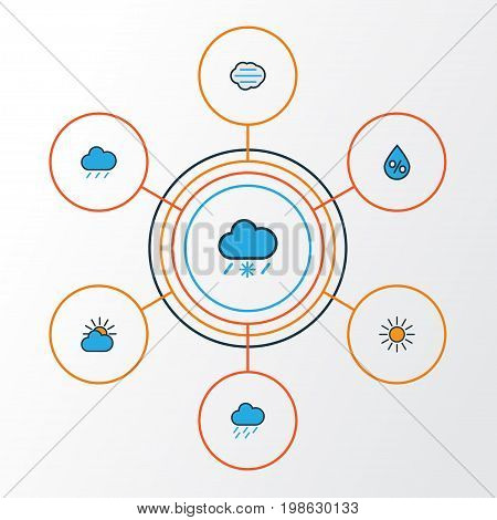 Climate Colorful Outline Icons Set. Collection Of Tempest, Tornado, Clouded And Other Elements