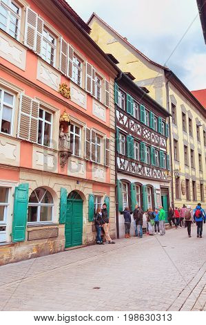 Bamberg, Germany - February 19, 2017: Bamberg city center street view with colorful houses