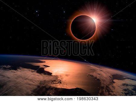 Solar Eclipse On Starry Sky