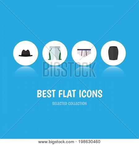Flat Icon Clothes Set Of Stylish Apparel, Panama, Underclothes And Other Vector Objects