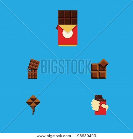 Flat Icon Bitter Set Of Shaped Box, Cocoa, Delicious And Other Vector Objects