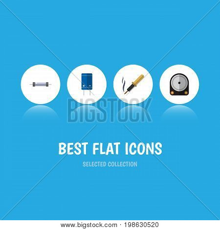 Flat Icon Device Set Of Transistor, Hdd, Resistor And Other Vector Objects