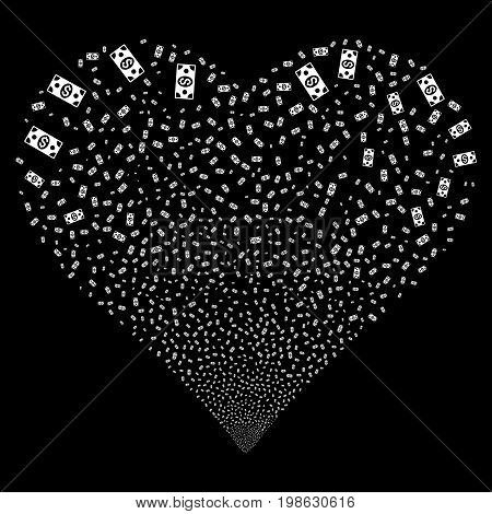Banknote fireworks with heart shape. Vector illustration style is flat white iconic symbols on a black background. Object valentine heart organized from confetti symbols.