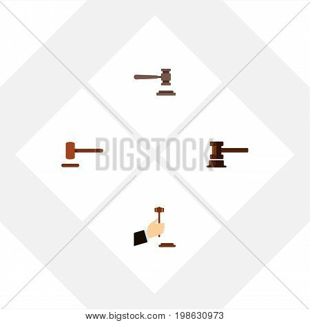 Flat Icon Hammer Set Of Law, Defense, Government Building And Other Vector Objects