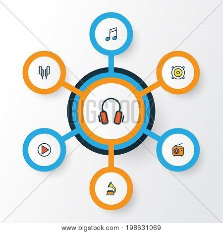 Music Colorful Outline Icons Set. Collection Of Headphones, Loudspeakers, Play And Other Elements