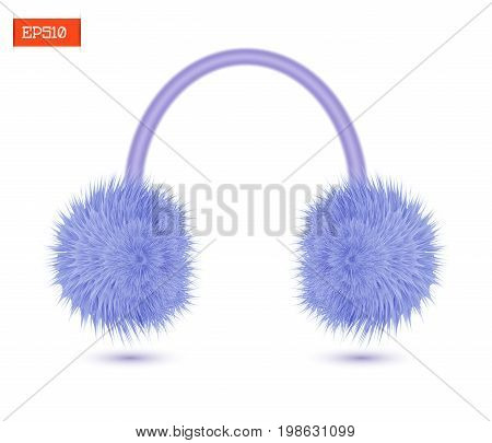 Realistic furry winter headphones purple color isolated on white. Vector illustration
