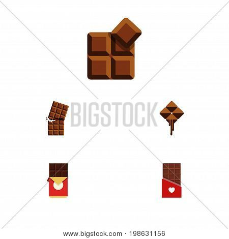 Flat Icon Chocolate Set Of Cocoa, Wrapper, Chocolate Bar And Other Vector Objects