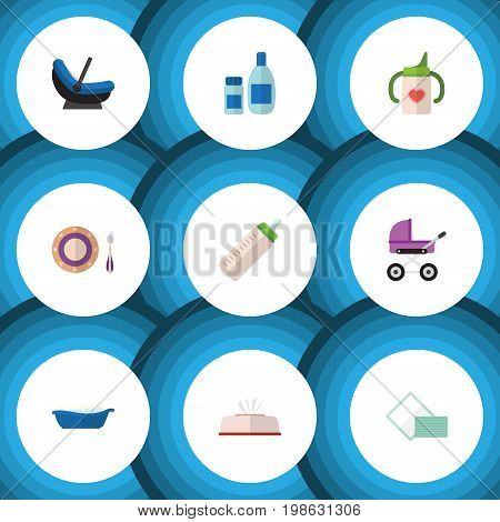 Flat Icon Kid Set Of Feeder, Stroller, Pram And Other Vector Objects