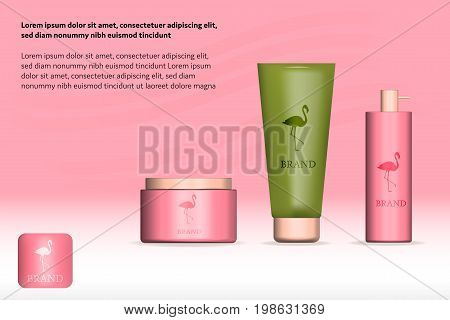 Brand. Cosmetic product in 3 sizes and forms with flamingo logo and text. Trendy watermelon colors.