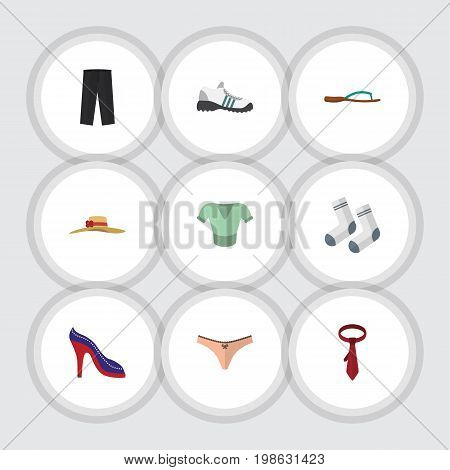 Flat Icon Garment Set Of Beach Sandal, Cravat, Sneakers Vector Objects