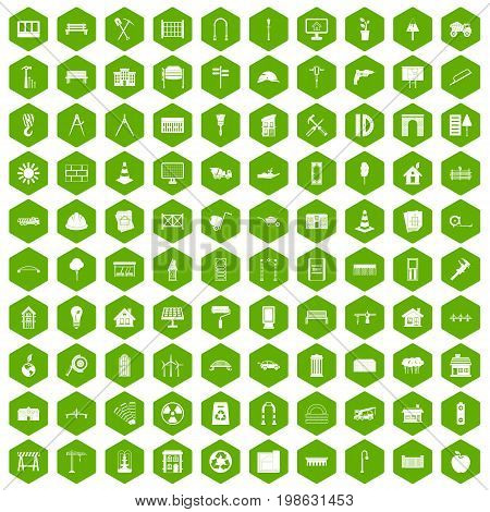 100 architecture icons set in green hexagon isolated vector illustration