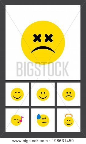 Flat Icon Emoji Set Of Tears, Angel, Smile And Other Vector Objects
