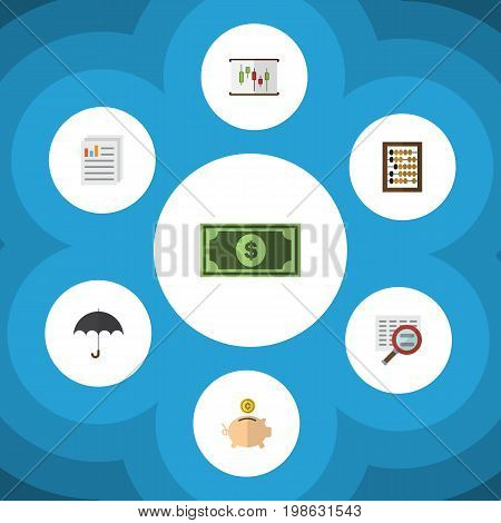 Flat Icon Finance Set Of Greenback, Counter, Scan And Other Vector Objects