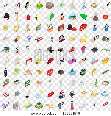 100 show icons set in isometric 3d style for any design vector illustration