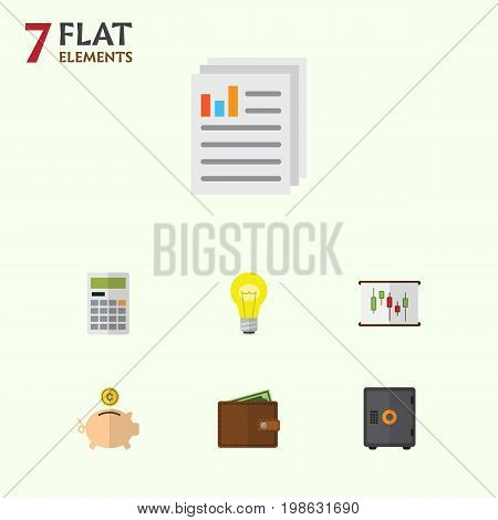 Flat Icon Gain Set Of Strongbox, Billfold, Diagram And Other Vector Objects poster