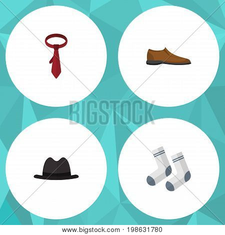 Flat Icon Dress Set Of Male Footware, Cravat, Foot Textile And Other Vector Objects