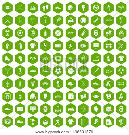 100 athlete icons set in green hexagon isolated vector illustration